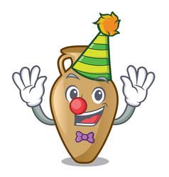 clown amphora mascot cartoon style vector image