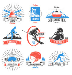 Colored skiing vintage labels set vector
