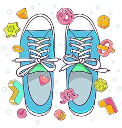 colorful of blue gumshoes on white backgrou vector image