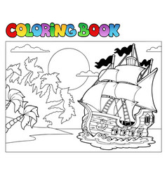 Coloring book with pirate scene 2 vector