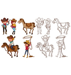 Cowboys and horses in colors and line vector