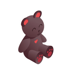 cute isometric teddy bear drawn with vivid brown vector image