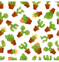 cute mexican cactus seamless pattern vector image