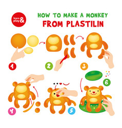 Cute plasticine monkey step instruction for kid vector