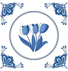 delft blue tulips vector image