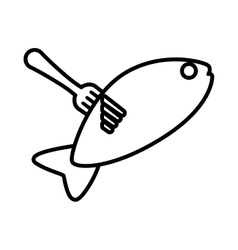 drawing fish food on fork icon vector image