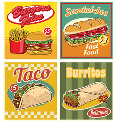 Fast food design in retro style set vector