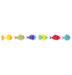 fish icon line set cute cartoon kawaii funny vector image