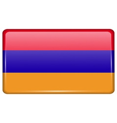 Flags Armenia in the form of a magnet on vector image