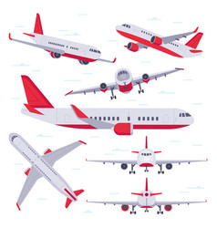 flat airplane aircraft flight travel aviation vector image