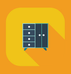 Flat modern design with shadow icons chest of vector
