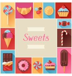 Frame with colorful various candy sweets and cakes vector image