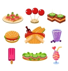 French Picnic Food Icons Set vector