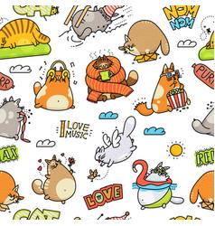 Funny cartoon cat drawings - seamless pattern vector