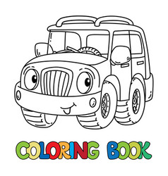 Funny jeep or outroader with eyes coloring book vector