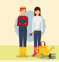 Gardeners man and woman with watering can and vector