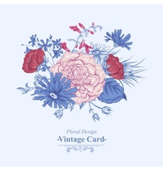 Gentle Retro Summer Floral Greeting Card Vintage vector