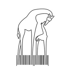 giraffes family and barcode in line vector image