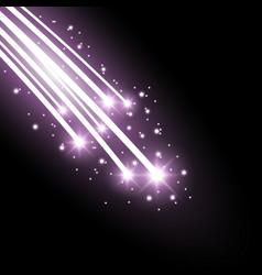Glittering falling stars purple color vector