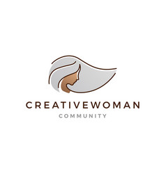 grey hair woman logo icon line outline monoline vector image