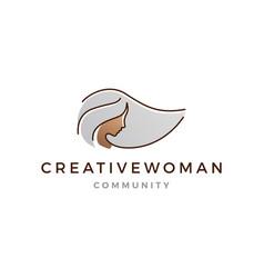 grey hair woman logo icon line outline monoline vector image