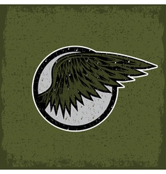 grunge vintage sport label with wings vector image