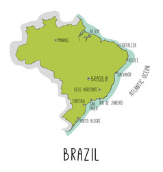 hand drawn map of brazil with main cities vector image