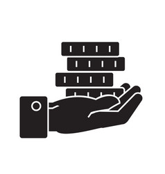 hand with coins black concept icon hand vector image