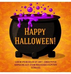 Happy halloween cute retro banner on craft paper vector image