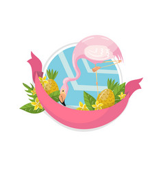 Happy summer label design element with palm vector