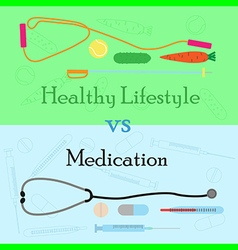healthy lifestyle vs medication vector image