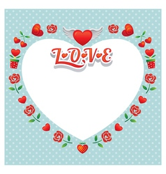 Heart Shape Frame and Border with Icons vector
