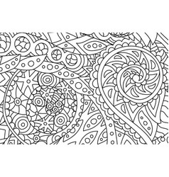 horisontal coloring book art with abstract pattern vector image