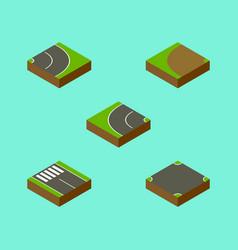 isometric road set of asphalt strip crossroad vector image vector image