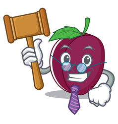 judge plum mascot cartoon style vector image