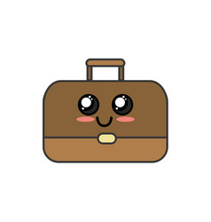Kawaii cute happy briefcase icon vector