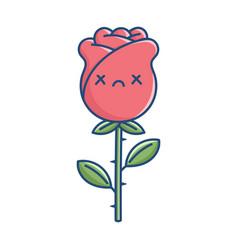 kawaii funny dead rose flower vector image