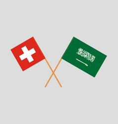 Kingdom of saudi arabia and switzerland flags vector