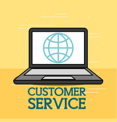 laptop digital application world customer service vector image