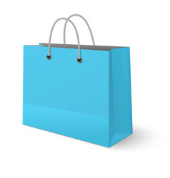 light blue paper classic shopping bag isolated vector image