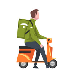 male courier riding scooter motorcycle with green vector image