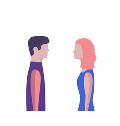 Man and woman profile face to face at meeting vector