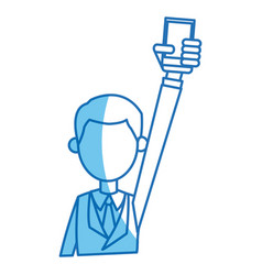 Man with suit holding smartphone blue line vector