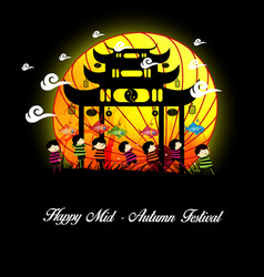 Mid autumn festival background with kids playing vector