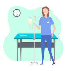 Nurse in blue uniform with name badge and drooper vector
