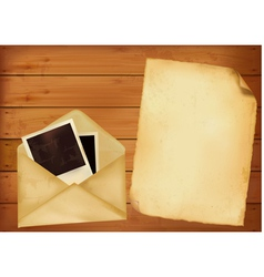 Old envelope with photos and paper vector