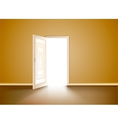 Opened wood door vector
