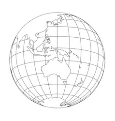 outline earth globe with map of world focused on vector image