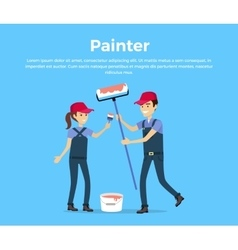 Painter concept in flat style design vector