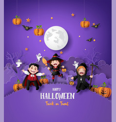 paper art happy halloween vector image